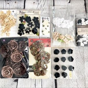 Lot of 8 Neutral Arts/Crafts Fabric Paper Flowers